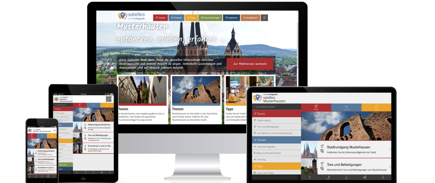 satelles mobilewebguide: Tourismusmarketing, digitaler Stadtrundgang als Web App mit Audio Guide