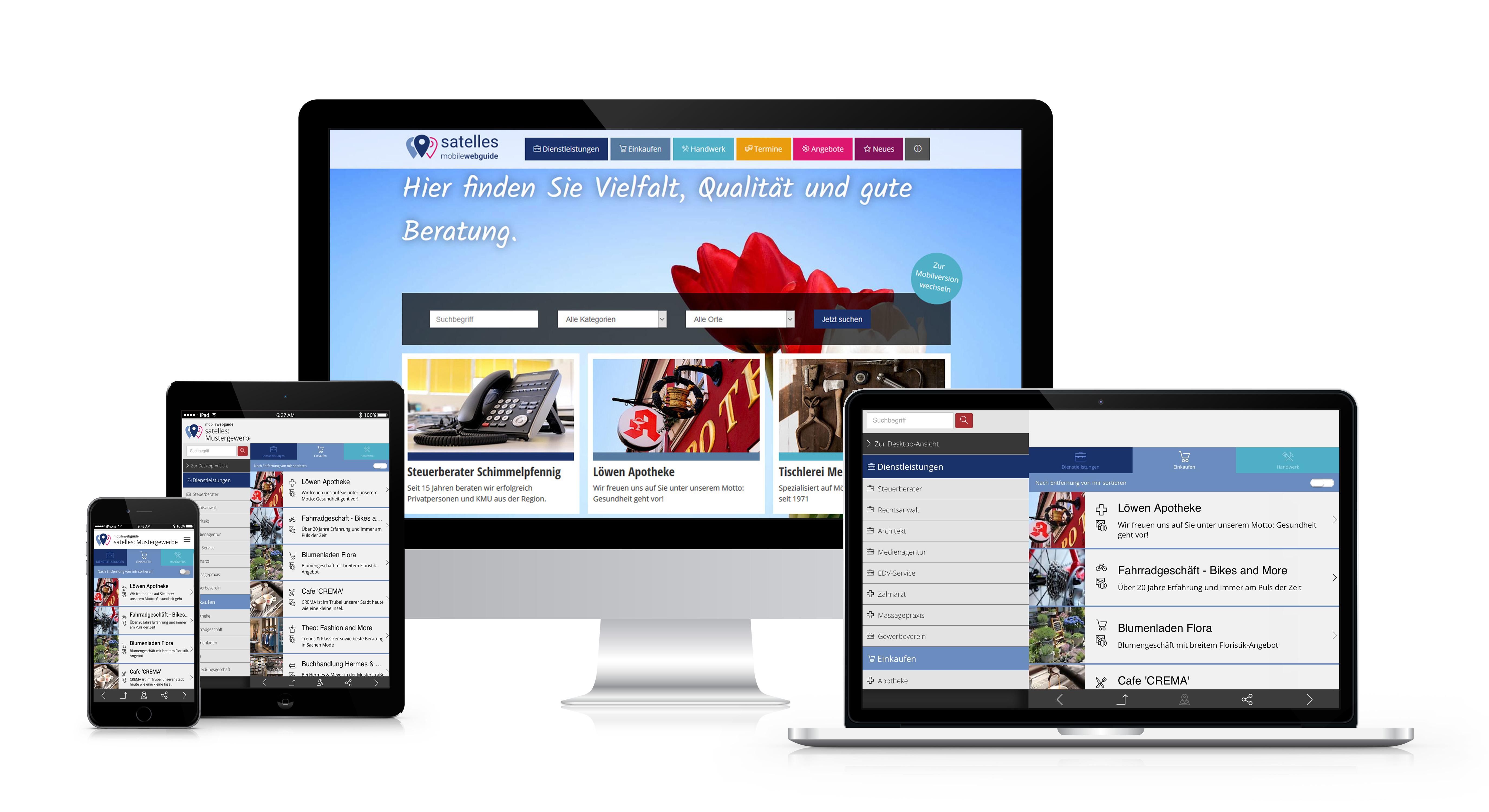 satelles mobilewebguide: digitales Stadtmarketing, Stadt App, Online Marktplatz