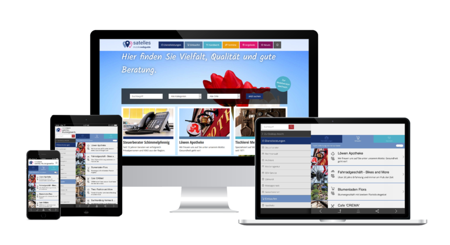 digitales Stadtmarketing frame mit geräteunabhängiger Web App